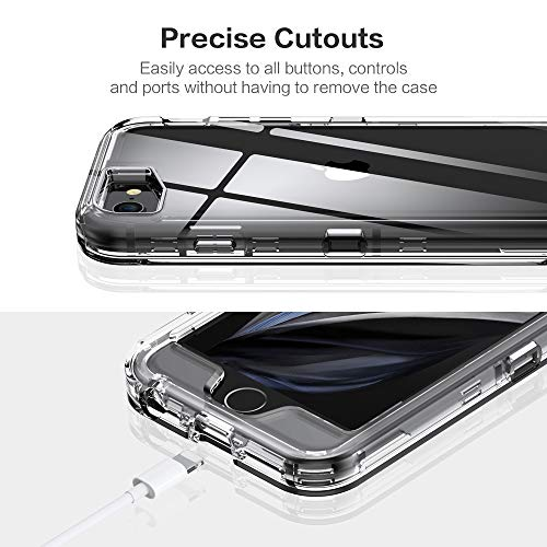 iPhone SE 2020 Case Clear, Compatible with iPhone 8 Case, iPhone 7 Case, iPhone 6/6s Case – FLOVEME 3 in 1 Hybrid Duty…