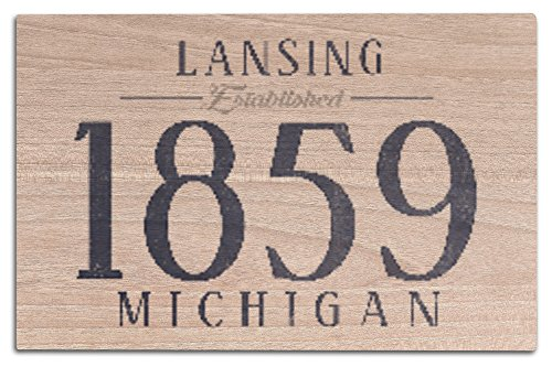 Lantern Press Lansing, Michigan - Established Date (Blue) (12x18 Wood Wall Sign, Wall Decor Ready to Hang) (Lansing Anderson Park)