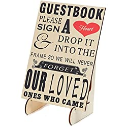 "SL crafts Wedding Guestbook Sign ""Please Sign A Heart"" Sign for Wooden Wedding Heart Drop Box With Wooden Stand"