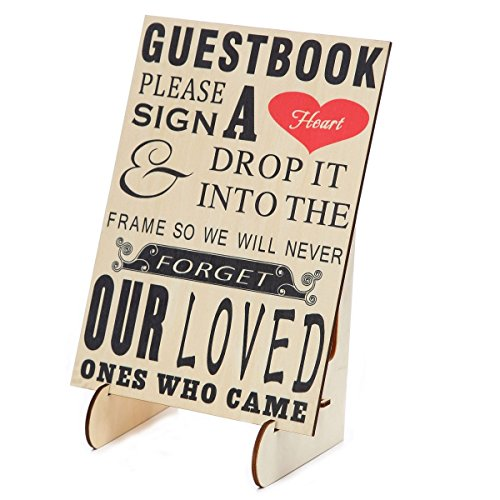 Wooden Heart Box - SL crafts Wedding Guestbook Sign Please Sign A Heart Sign for Wooden Wedding Heart Drop Box with Wooden Stand