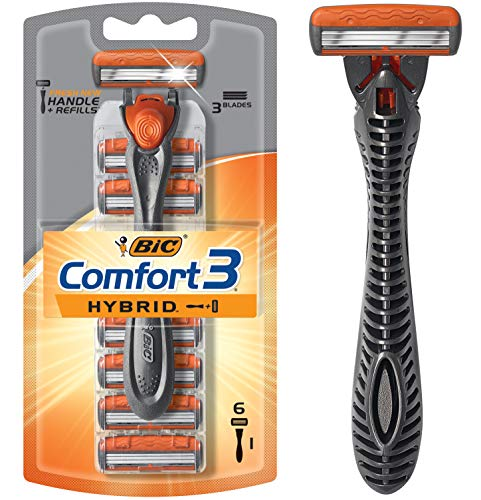 BIC Comfort 3 Hybrid Men's 3-Blade Disposable Razor, 1 Handle and 6 Cartridges, W