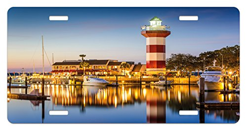 (Ambesonne United States License Plate, Hilton Head South Carolina Lighthouse Twilight Water Reflection Boats Idyllic, High Gloss Aluminum Novelty Plate, 5.88 L X 11.88 W Inches,)