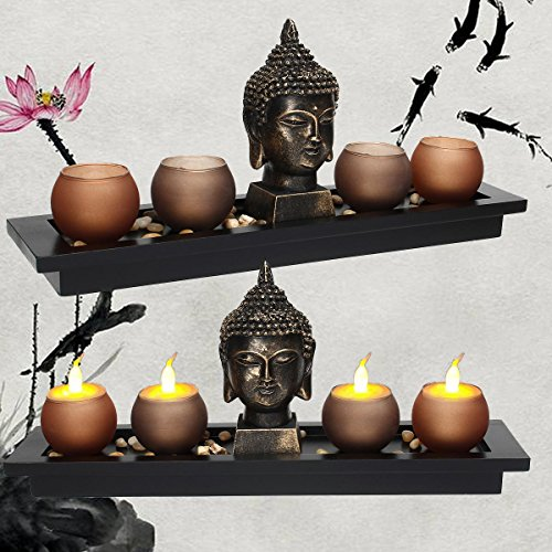 1pcs Thai Buddha Head Ornament Resin Candle Holders Set Buddhism Meditation Statue Candlestick Tray Stones Home Decoration Gifts Katoot by Katoot