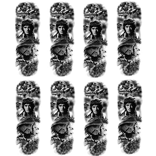 Leoars War Temporary Sleeve Tattoos, 8-Sheet Large Full Arm Sleeve Military Tattoos, Fake Military Men Tattoos Makeup Set for Party Outfit Supplies
