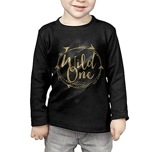 ZheuO Boys & Girls Toddler Wild One One Year Old Soft and Cozy 100% Cotton Tee Unisex Black 5-6 Toddler