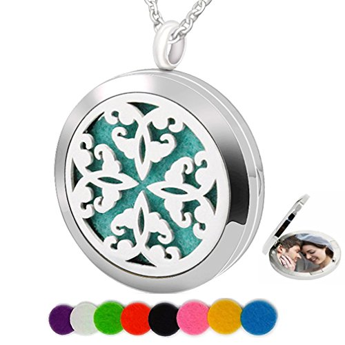 Chaomingzhen Essential Oil Necklace Fragrance Aromatherapy Diffuser Circle Picture Locket Pendant Girl