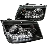 Spec-D Tuning LHP-JET99JM-8-TM VW Volkswagen Jetta R8 Led Style Black Projector Headlights