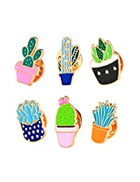 U.Buy Women Girls 6 PCS Cartoon Cute Enamel Brooch Set Plants Brooch Pin Badge for Clothing Bags Backpacks