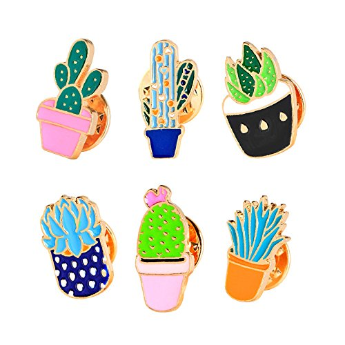 U.Buy Women Girls 6 PCS Cartoon Cute Enamel Brooch Set Plant Brooch Pin Badge for Clothing Bags Backpacks 4336833869