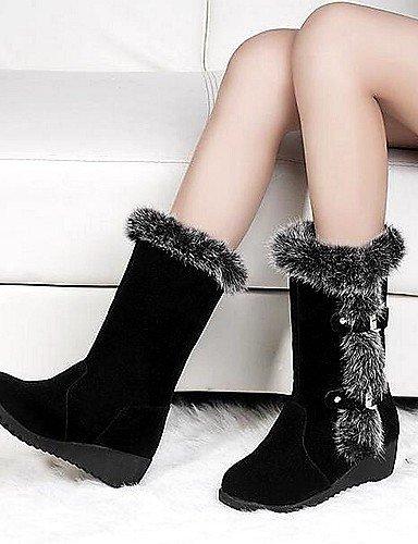 La Cuña Botas Semicuero Marrón Eu36 Casual Negro Moda Vestido Cn36 us6 Zapatos Comfort Xzz Uk4 De Brown us6 Black Tacón Mujer A x8qngF4