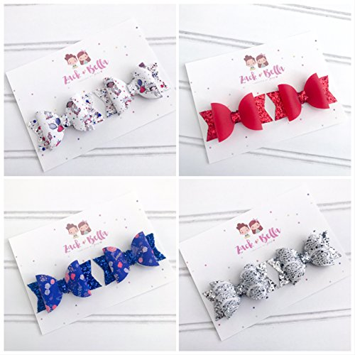 Red White and Blue Hairbows For Toddler Girl 4th Of July Hair Accessories Nylon - White Leather Zack