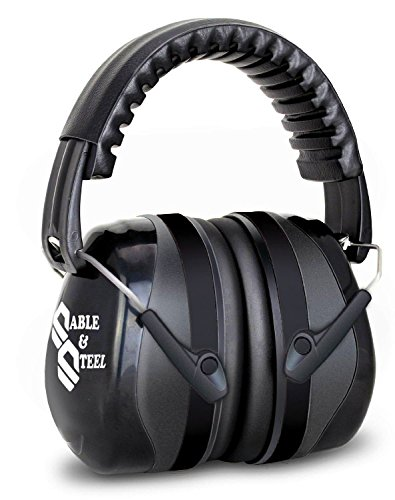 Sable & Steel Highest NRR Safety Ear Muffs – Professional Hearing Protection, Adjustable Headband Earmuff, Fits Adults to Kids - For Shooting, Outdoors, Sports, Industrial, Machinery (Black)