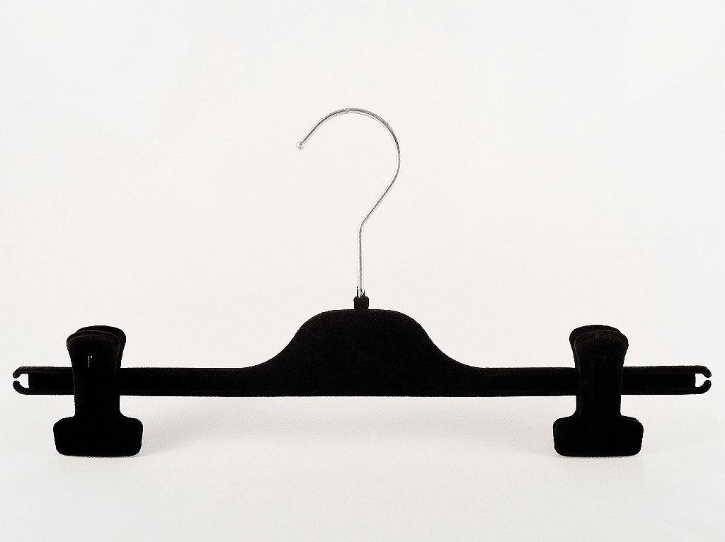 15 St/ück 35 cm schwarz Samt Kleiderb/ügel f/ür Hosen /& R/öcke mit Clip