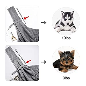 TOMKAS Small Dog Cat Carrier Sling Hands-Free Pet Puppy Outdoor Travel Bag Tote Reversible (Gray)