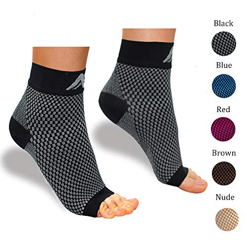 ACTINPUT Compression Foot Sleeves for Men & Women – Best Plantar Fasciitis Socks with Arch Support (Black/White, Small)