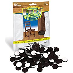 Premium Felt Furniture Pads with Super Bonding Self-Stick Adhesive - Protects All Hard Floor Surfaces (100 Piece Bag) Brown 1 Inch Round Felt Pads