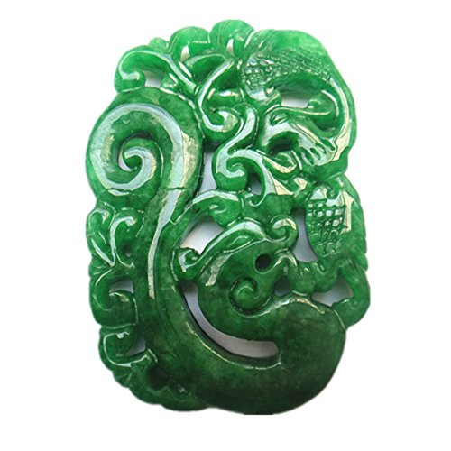 Green Jade Pendant Mascot Dragon Phoenix Amulet (Double-sided Engraving) (Jade Amulet)