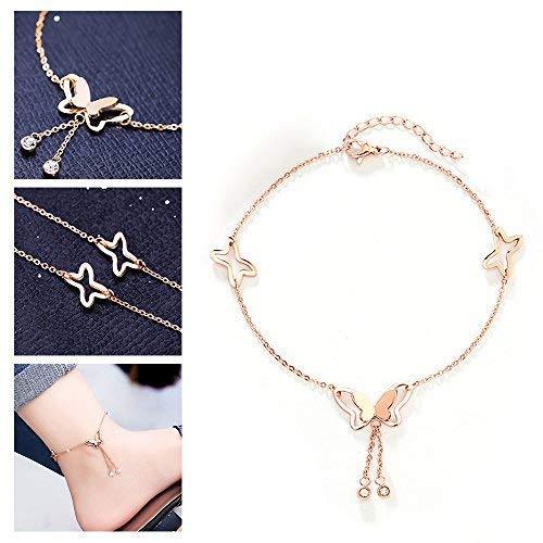 Adecco LLC Butterfly Tassel Rose Gold Titanium Steel Chain Barefoot Sandals Ankle Bracelet (Rose Gold)