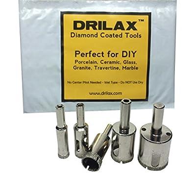 "Drilax™ 5 Pcs Diamond Drill Bit Set 3/8"", 1/2"" (0.5 In), 5/8"", 3/4"", 1"" Wet Use for Tiles, Glass, Fish Tanks, Marble, Granite, Ceramic, Porcelain, Bottles, Quartz - Lot 5 Diamond Coated Drills - Kitchen, Bathroom, Shower, Lamps Drilax051025"