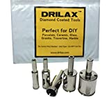 Drilax™ 5 Pcs Diamond Drill Bit Set 3/8'', 1/2'' (0.5 In), 5/8'', 3/4'', 1'' Wet Use for Tiles, Glass, Fish Tanks, Marble, Granite, Ceramic, Porcelain, Bottles, Quartz - Lot 5 Diamond Coated Drills - Kitchen, Bathroom, Shower, Lamps Drilax051025
