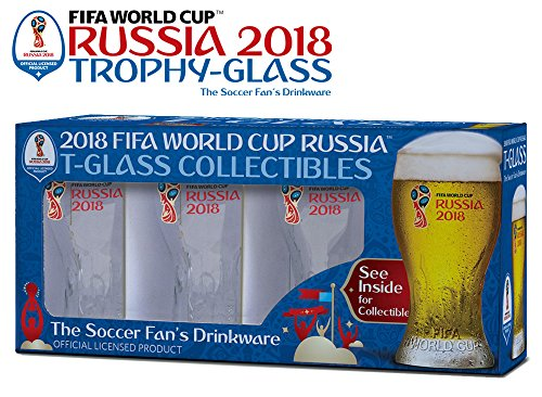 (Set of 4 Russia 2018 Logos FIFA World Cup Trophy-glass Gift-Box -The Soccer Fan 's Drinkware set)