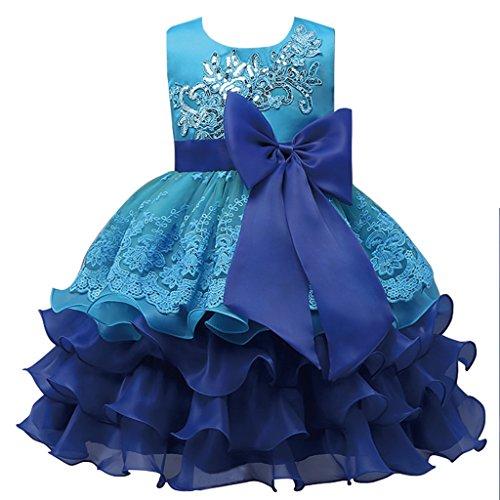 FantastCostumes Girls Vintage Ruffles Flower Wedding Dress(Blue, (Silver Screen Fancy Dress Costumes)