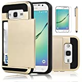 Galaxy Core Prime Case, ECTM Galaxy Prevail LTE Case, Hybrid Dual Layer Shockproof Bumper Wallet Case Cover with Card Holder for Samsung Galaxy Core Prime/Prevail LTE G360 (Champagne Gold)