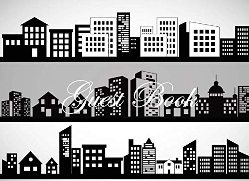 Guest Book: City Scape Sign in book, Bridal Shower, Wedding, Baby Shower, Anniversary or Retirement Party Single Sided Sign in guestbook ()