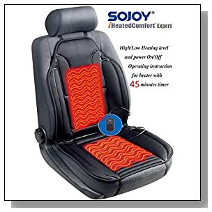 Sojoy Universal 12V Heated Car Seat Heater Heated Cushion Warmer High/Medium/Low Temp Switch, 45 Minute Timer (Black)