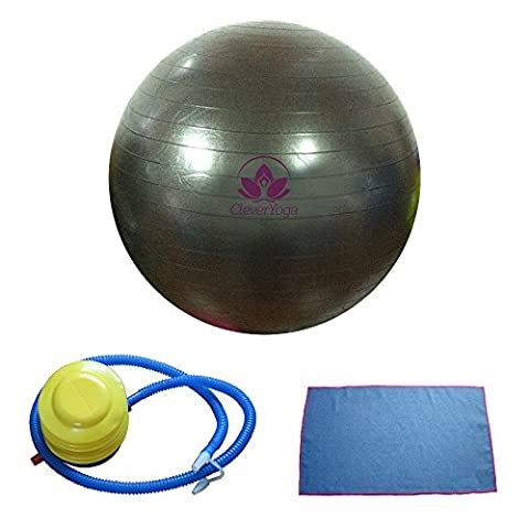 Clever Yoga Exercise Fitness Ball with Hand Towel and Foot Pump - Black, 65cm - Adjustable Height Power Pedestal