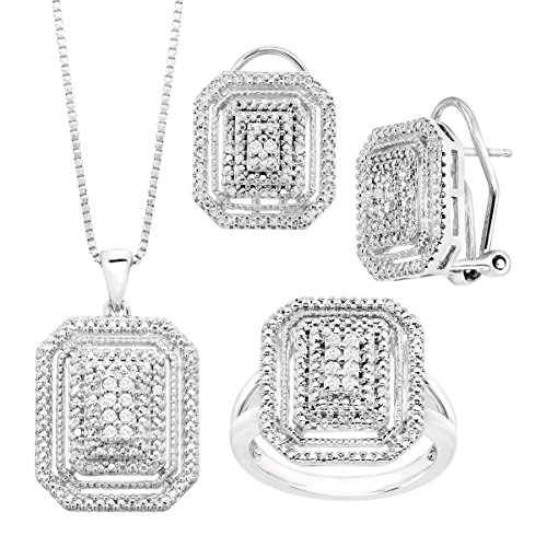 (1/4 ct Diamond Necklace, Earrings & Ring Set in 14K White Gold-Plated Brass)