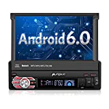 Single Din Android Car Stereo - 1 Din Flip Out Touch Screen Radio with Bluetooth, Support GPS Navigation, MirrorLink, WIFI 3G, SD/USB, Backup Camera, OBD2, 1080P, AV-Out, Subwoofer, SWC