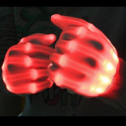 Pretid Led Gloves Light up Rave Skeleton Gloves Toys for Halloween Pary, Novelty Christmas Gift (red)