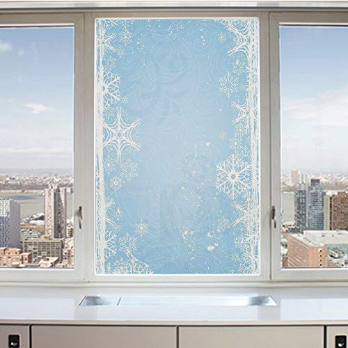 3D Decorative Privacy Window Films,Abstract Christmas Themed Snowflake Pattern on the Soft Colored Background Image,No-Glue Self Static Cling Glass film for Home Bedroom Bathroom Kitchen Office 17.5x3