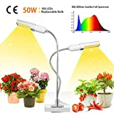 GROWSTAR 50W LED Grow Light, Super Bright 100 LEDs Sunlike Full Spectrum Grow Lamp,Dual Head 360 Degree Gooseneck Plant Light with Replaceable Bulbs Double Switch for Indoor Plants Growing