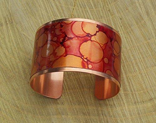 Autumn Mist Copper Patina Cuff Bangle Bracelet Handmade Adjustable in Gift - Autumn Patina