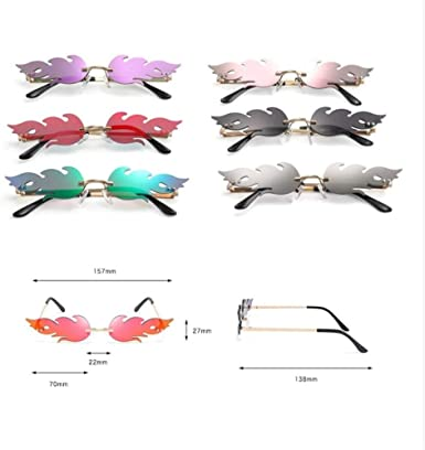 Fire Flame Sunglasses Women Rimless Sun Glasses Metal Shades Vintage Women UV400