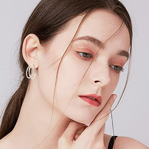 UHIBROS 2 Pairs Earrings Sets For Women, 18K Gold Plated Split Twisted Hoop Earrings 925 Sterling Silver Hypoallergenic Post Huggie Earrings, Silver/Gold Hoop Earrings For Girls Fashion Jewelry