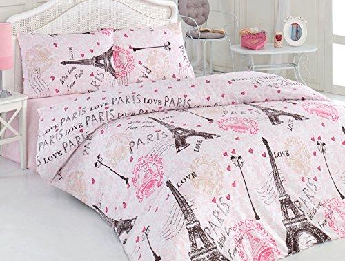 Paris Bedding Set 4 Pieces with Queen Duvet Cover Cotton, Eiffel Tower Love Lettering Illustration Decorative Vacation Design, Fuschsia (Paris Comforter)