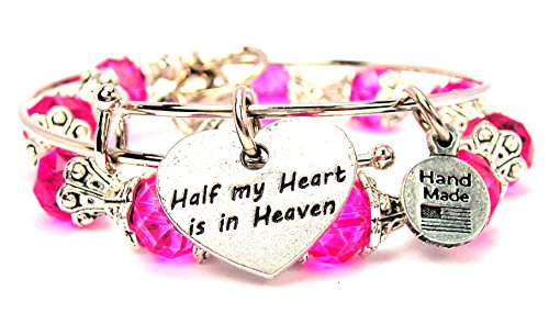 2 Piece Set Half My Heart Is in Heaven Hot Pink Bangle Bracelet Collection
