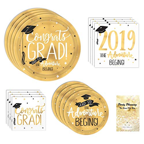 Graduation Party Supplies, Black and Gold Design, 16 Guests, 65 Pieces, Disposable Paper Dinnerware, Plate and Napkin -