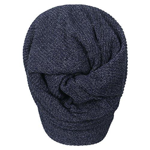 Neck Knit Snood Hat Navy Beanie Skull Ribbed blue Cap ililily x4nwq5YABn
