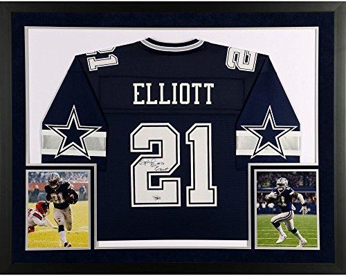 Ezekiel Elliott Dallas Cowboys SM Deluxe Framed Autographed Navy Pro-Line Jersey - Fanatics Authentic Certified