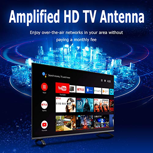 HDTV Antenna - Vansky Digital Amplified HD TV Antenna 2019 upgarded 60-90 Mile Range 4K HD VHF UHF Freeview Television Local Channels Detachable Signal Amplifier and 16.5ft Longer Coax Cable