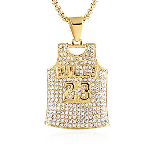 HZMAN Mens 18k Gold Plated Iced Out CZ Basketball Jersey 23 Number Pendant Hip Hop 24