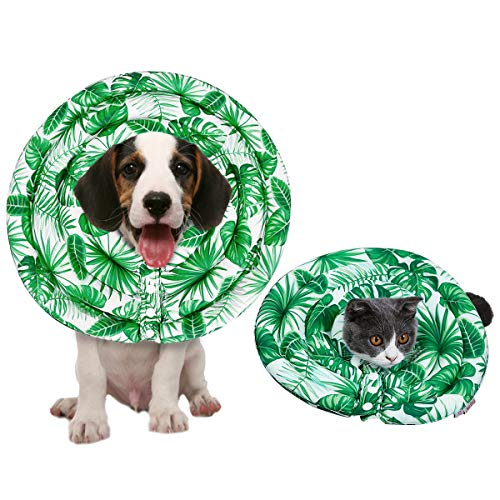 - BUYLU Cats Elizabethan Collar - Pet Surgery Recovery Collar Waterproof Wound Healing Protective Elizabethan Shame Collar Cat Donut Collar Anti-Bite Lick Leaf Extra Small