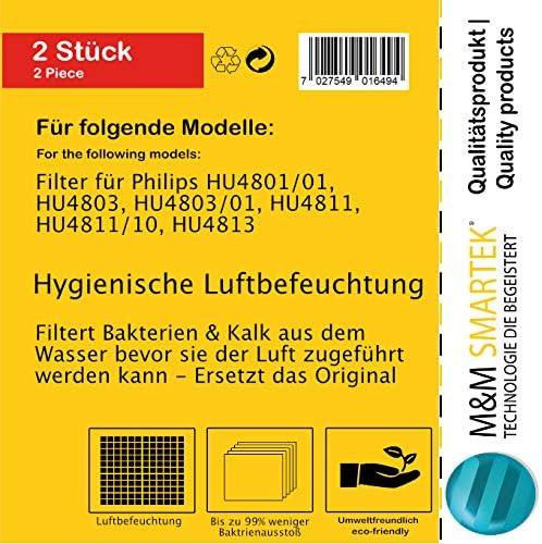 HU4803 hu4811 2/pieza filtro Aire Humectaci/ón para Philips humidificador hu4813 hu4801