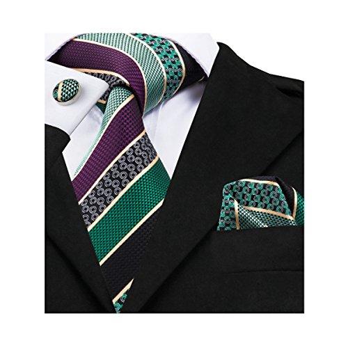 Green Necktie Tie (Barry.Wang Green Tie Pocket Square Cufflinks Set Silk Woven Neckties)
