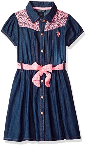 - U.S. Polo Assn. Girls' Toddler Casual Dress, Pinktucks lace Yoke Medium wash, 3T