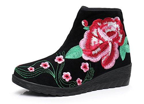AvaCostume Womens Embroidery Suede Side Zipper Wedge Boots Black D2khcsoKui